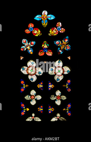 Gothic Stained Glass Window in Spanish Church of San Severino, Balmaseda, The Basque Country, Spain - Stock Photo