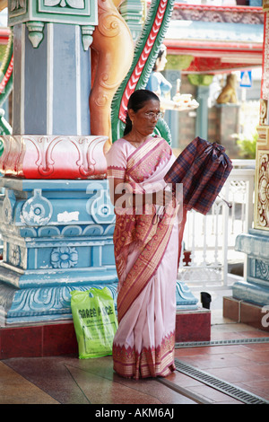 Mauritius Port Louis hindu temple lady in sari - Stock Photo
