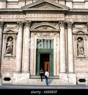 Exterior view of the front entrance facade of Santa Susanna Church building home of the American Catholic Church - Stock Photo