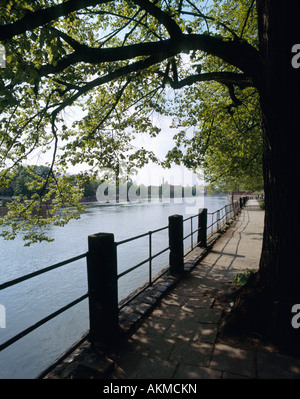 View of river side in Wroclaw / Breslau, Poland - Stock Photo