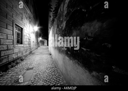 deserted cobbled backstreet at night in Prague city centre - Stock Photo