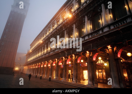 St Mark s Square in Venice at twilight in Winter - Stock Photo