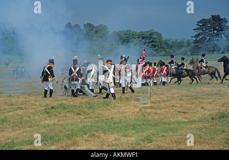 SURREY UK June The re-enactment of the Battle of Waterloo the British priming their cannons - Stock Photo