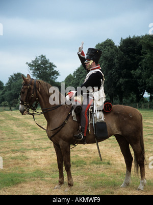SURREY UK June The re-enactment of the Battle of Waterloo a British Cavalry Officer sitting on his horse - Stock Photo