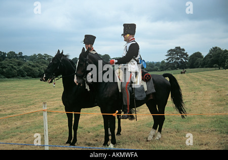 SURREY UK June The re-enactment of the Battle of Waterloo with British Cavalry Officers sitting on their horses - Stock Photo