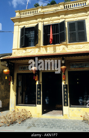 Traditional narrow shophouse in Tran Phu St, Hoi An, Viet Nam - Stock Photo