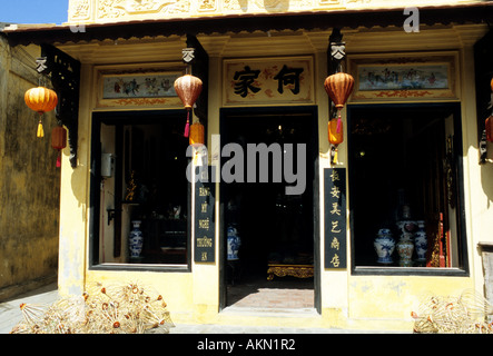 Traditional shophouse in Tran Phu St, Hoi An, Viet Nam - Stock Photo