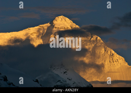 Mount Everest at sunset viewed from Base Camp Tibet - Stock Photo
