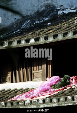 Shophouse roof in Tran Phu St, Hoi An, Viet Nam - Stock Photo