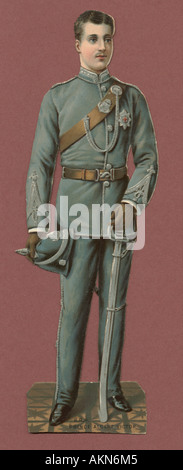 Chromolithographed die cut scrap of 'Eddy', Prince Albert Victor, Duke of Clarence (1864-92) circa 1880 - Stock Photo