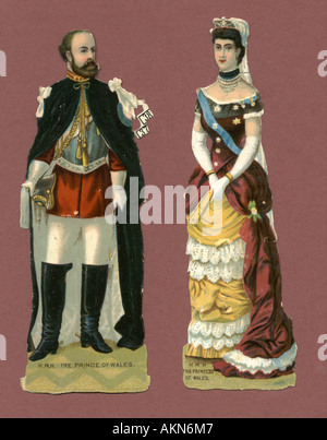 Chromolithographed die cut scraps of Prince and Princess of Wales circa 1880 - Stock Photo