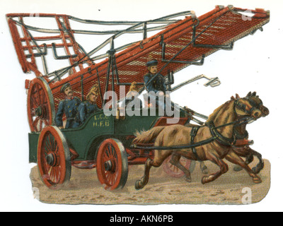 Chromolithographed die cut scrap of fire brigade  with ladder circa 1880 published by Raphael Tuck - Stock Photo