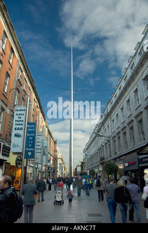 The magnificent soaring Spire of Dublin viewed from Henry Street Dublin Ireland - Stock Photo