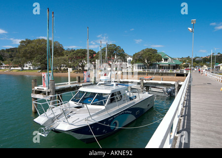 Boat Dock at the town of Russell, Bay of Islands, Northland, North Island, New Zealand - Stock Photo