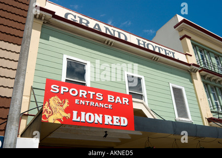 Sign for a Sports Bar in the Grand Hotel, Wanganui, North Island, New Zealand - Stock Photo