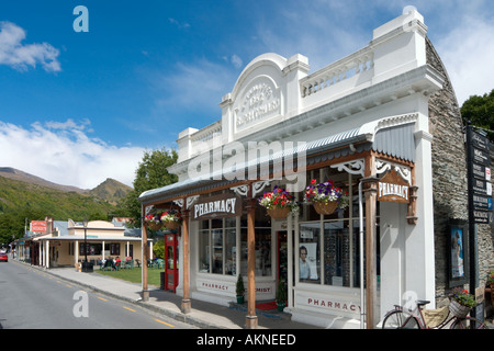 Pharmacy on the Main Street in the historic old gold mining town of Arrowtown, near Queenstown, South Island, New - Stock Photo