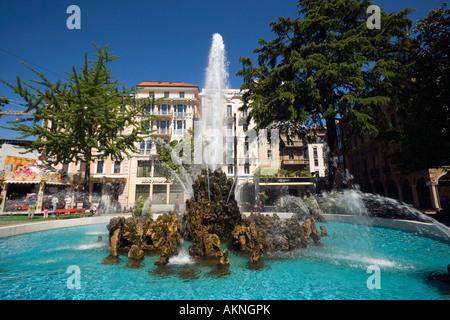 Fountain at Piazza Manzoni Lugano Lake Lugano Ticino Switzerland - Stock Photo