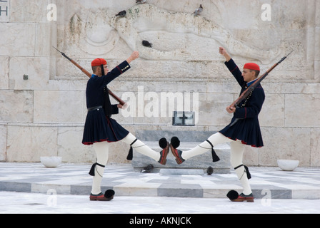 Evzones guarding the tomb of the unknown soldier outside the Greek Vouli Parliament building on Syntagma Square, - Stock Photo