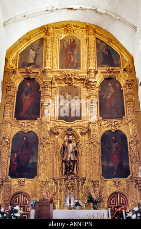 Main altar at San Javier Mission, Baja California Sur, Mexico - Stock Photo