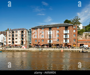 Converted warehouse apartments in the Quay area, Exeter, Devon, UK - Stock Photo