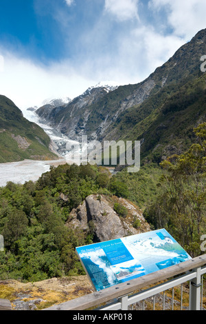 Viewpoint looking towards Franz Josef Glacier, South Island, New Zealand - Stock Photo