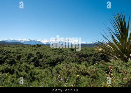 Mount Cook, Mount Tasman and the Southern Alps from Gillespies Beach, South Island, New Zealand - Stock Photo