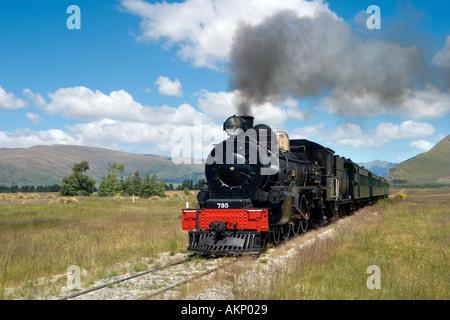 The Kingston Flyer steam train just outside Kingston, near Queenstown, South Island, New Zealand - Stock Photo