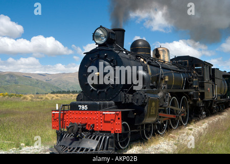 The Kingston Flyer steam train just outside Kingston, near Queenstown, South Island, New Zealand - Stock Photo