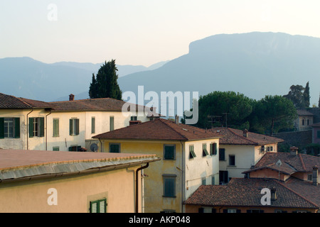 Barga Tuscany Italy Ancient hill top city with narrow cobbled streets typical Tuscan houses - Stock Photo