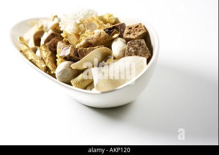 Bowl of Pot Pouri Autumnal colours - Stock Photo