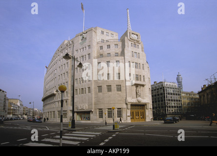 BBC Broadcasting House in 2004, corner of Langham Place and Portland Place, London W1 - Stock Photo