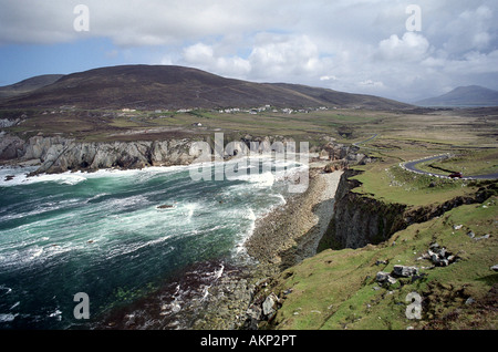 rough atlantic seas off achill island atlantic drive view towards dooega head ireland uk gb - Stock Photo