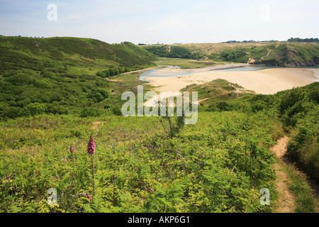 Three Cliffs Bay and the Pennard Burrows viewed from Penmaen Burrows Gower coast Wales UK Britain Europe - Stock Photo