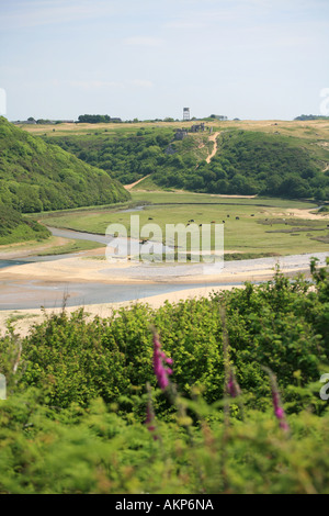 Pennard Castle and burrows viewed from Penmaen side of Three Cliffs Bay on beautiful Gower Coast Wales United Kingdom - Stock Photo