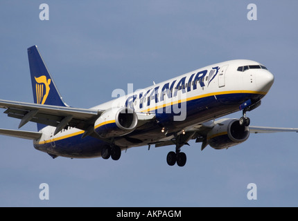 Cheap flights. Boeing 737-800 passenger jet plane belonging to Irish low cost airline Ryanair on final approach