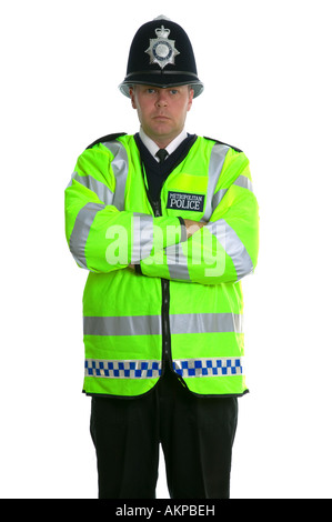 Metropolitan Police Officer in a Hi Visibility jacket and wearing a traditional custodian helmet - Stock Photo