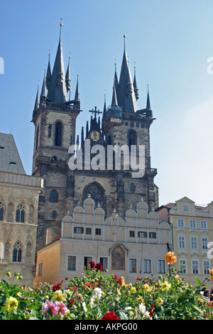 Prague Czech Republic Tyn Church in the old town with flowers in the foreground prague - Stock Photo