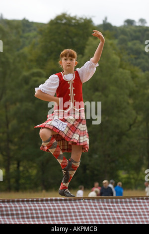 Children, Feet, Socks, Legs. Traditional Scottish Highland reel dancers at the annual Glengarry Highland games and - Stock Photo