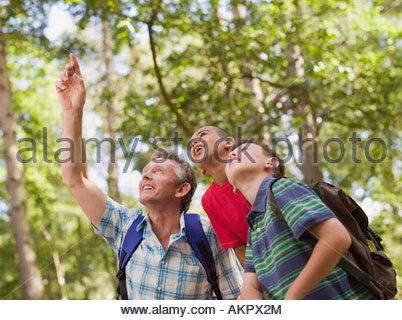 Teacher and children in forest - Stock Photo