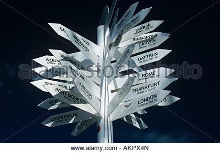 Cities on a direction sign - Stock Photo