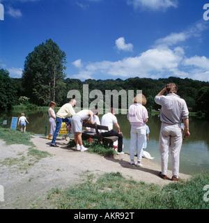 D-Dueren, Rur, Voreifel, Nordeifel, Rhineland, North Rhine-Westphalia, Dueren-Niederau, park, gardens of moated - Stock Photo