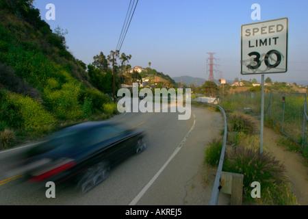 Winding Road Mulholland Drive Los Angeles California USA - Stock Photo