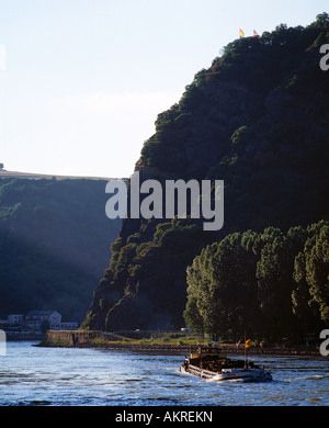 Loreleyfelsen bei St. Goarshausen, Rhein, Rheinland-Pfalz - Stock Photo