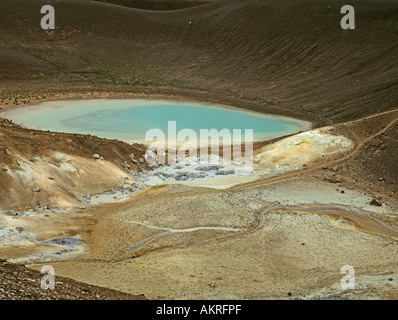 NAMAFJALL ICELAND EUROPE July A high temperature geothermal area with black lava fumaroles mud pots and sulphur - Stock Photo