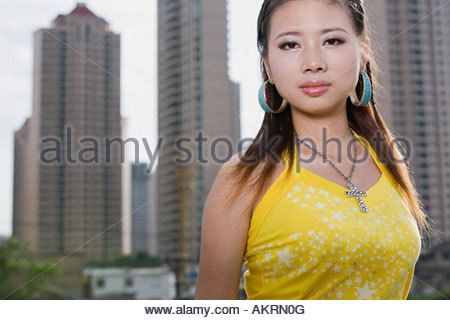 Young woman in city - Stock Photo