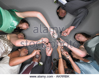 Wedding guests toasting - Stock Photo