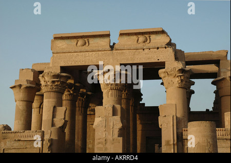 Kom Ombo Temple on the banks of the River Nile dedicated to the crocodile god Sobek and Horus the hawk god Egypt - Stock Photo
