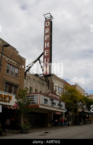 Marquis for rock show in Madison, Wisconsin at the Orpheum theater. - Stock Photo