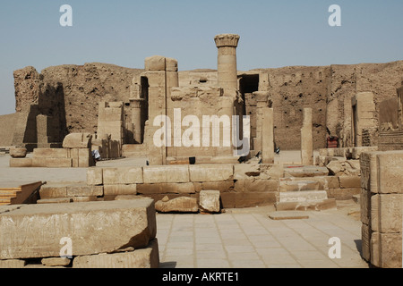 Temple ruins at the Temple of Horus at Edfu Egypt - Stock Photo