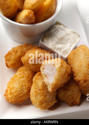 Breaded Scampi and chips seafood horseradish editorial food - Stock Photo